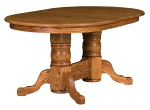 WEST POINT - Traditional Double Pedestal Table - Dimensions: 42x60, 42x66, 42x72, 48x60, 48x66, or 48x72 with up to 4 leaves - Custom finish options available, please see store for details.