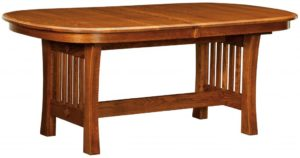 WEST POINT - Arts and Crafts Trestle Table - Dimensions (in inches): 42x60, 42x66, 42x72, 48x60, 48x66, or 48x72 with up to 4 leaves - Custom finish options available, please see store for details.
