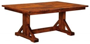 WEST POINT - Chesapeake Trestle Table - Dimensions (in inches): 42x60, 42x66, 42x72, 48x60, 48x66, or 48x72 with up to 3 leaves - Custom finish options available, please see store for details.