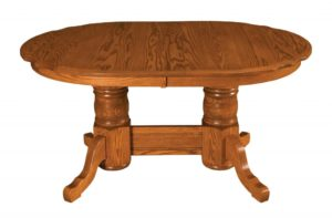 WEST POINT - Traditional Double Pedestal Scallop Table - Dimensions (in inches): 42x60, 42x66, 42x72, 48x60, 48x66, or 48x72 with up to 4 leaves - Custom finish options available, please see store for details.