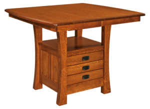 WEST POINT - Arts and Crafts Cabinet Table - Dimensions (in inches): 42x42, 42x48, 42x54, 48x48, or 48x54 with up to 1 leaf or as solid top - Custom finish options available, please see store for details.