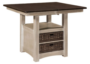 WEST POINT - Heidi Cabinet Table - Dimensions (in inches): 42x42, 42x48, 42x54, 48x48, and 48x54 with options of solid top, one 12 inch leaf, or one 18 inch butterfly leaf - Custom finish options available, please see store for details.