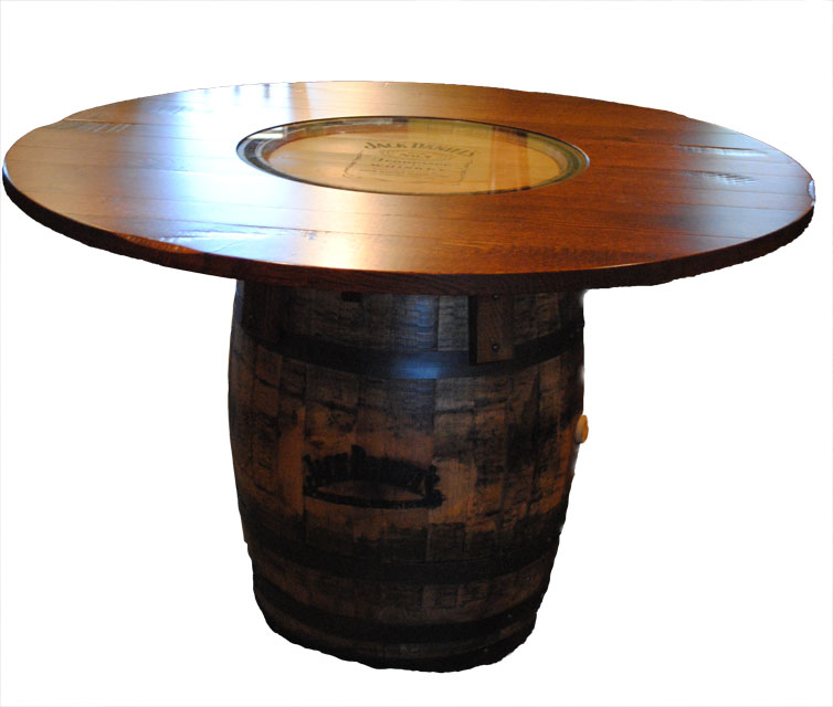 Country road jack daniels barrel table three sisters for Table jack daniels