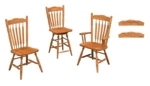 F & N - Post Paddle Side Chair, Swivel Bar Stool, and Arm Chair - Dimensions (in inches): Side Chair 19w x 16.5d x 41h, Swivel Bar Stool 19w x 16.5d x 24h (Seat) or 19w x 16.5d x 30 h (Seat) 22h Seat Back, Arm Chair 25w x 16.5d x 41h -Other available styles include stationary bar stool and desk chair.