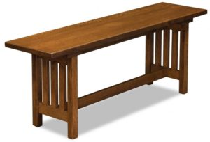 A J - Mission Trestle Bench - Dimensions (in inches): 48w x 12.5d x 18h.