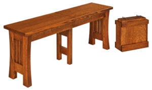 WEST POINT - Arts and Crafts Bench - Dimensions (in inches): 12.5 x 24, 12.5 x 36 Solid Top Only, 12.5 x 48, 12.5 x 60, 12.5 x 72. Solid Top or up to 4 Leaves.