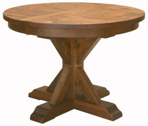 "WOODSIDE - Alberta Pedestal Table - Dimensions: 42"", 48"", or 54"" round with up to 2 leaves - Custom finish options available, please see store for details."