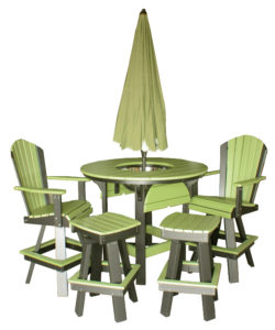 "CREEKSIDE - Round Bar Table Set (Table RT48BB, Swivel Bar Chair (C102), and Swivel Saddle Bar Stool (SSC17) - Size: 48"" Round Table, 20"" Bar Chair, 17"" Saddle Bar Stool. Umbrella not included."