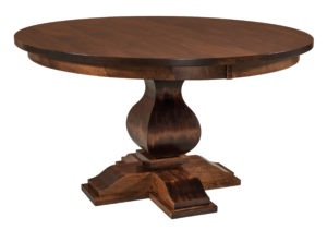 "WEST POINT - Barrington Single Pedestal Table - Dimensions: 48"", 54"", or 60"" round with up to two 12"" leaves - Custom finish options available, see store for details."