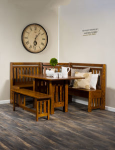 A & J - Bay Hill Nook Dining Set - AJW3000 - Dimensions (in inches): 72w x 58d x 41h - Includes storage under seats. Custom dimensions available, call store for details.