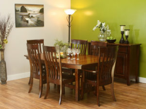 WOODSIDE - Berkley Table with Malibu Side Chairs Collection - Table Dimensions (in inches): 42x60, 42x66, 42x72, 48x60, 48x66, or 48x72 with up to 4 leaves - All pieces sold separately - Custom finish options available, please see store for details.