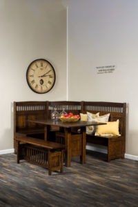 A & J - Classic Mission Nook Dining Set (AJW1000DN) - Dimensions (in inches): 72w x 58d x 41h - Includes storage under seats. Custom dimensions available, call store for details.