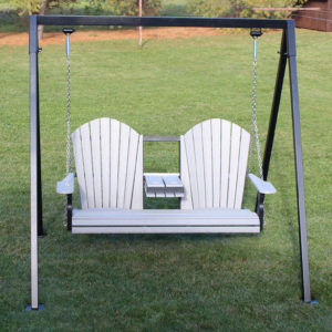 "CREEKSIDE - Classic Swing w/ console (C130): 56""w x 44""h MAF90 Metal Swing Frame- 2 colors available: Black & Brown"