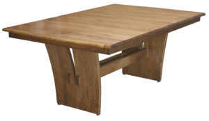 WOODSIDE - Delphi Trestle Table - Dimensions (in inches): 42x60, 42x66, 42x72. 48x60, 48x66, or 48x72 with up to 4 leaves - Custom finish options available, please see store for details.