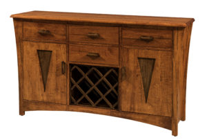 WOODSIDE - Delphi Wine Server Buffet - Dimensions (in inches): 18d x 62w x 36h - Custom features and finish options available, please see store for details.