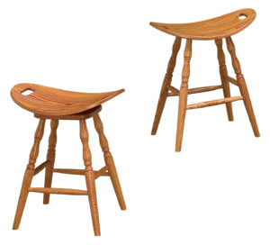 F & N - Saddle Bar Stools (Swivel or Stationary) - Dimensions (in inches): 22w x 13.5d.