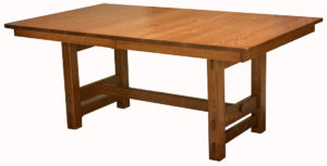 WOODSIDE - Glenwood Trestle Table - Dimensions (in inches): 42x60, 42x66, 42x72, 48x60, 48x66, or 48x72 with up to 4 leaves - Custom finish options available, please see store for details.