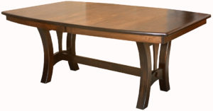 WOODSIDE - Grand Island Trestle Table - Dimensions (in inches): 42x60, 42x66, 42x72, 48x60, 48x66, or 48x72 with up to 4 leaves - Custom finish options available, please see store for details.