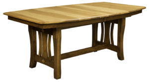 WOODSIDE - Hearthside Trestle Table - Dimensions (in inches): 42x60, 42x66, 42x72, 48x60, 48x66, or 48x72 with up to 4 leaves - Custom finish options available, please see store for details.