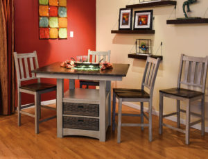 WEST POINT - Heidi Cabinet Table and Lodge Side Chairs Collection - Table Dimensions (in inches): 42x42, 42x48, 42x54, 48x48, or 48x54 with up to 1 leaf - All pieces sold separately - Custom finish options available, please see store for details.