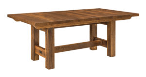 "WEST POINT - Lynchburg Trestle Table - Dimensions (in inches): 42x62, 42x74, 48x62, and 48x74 as solid top, or two 16"" leaves on ends of the table - Made only with reclaimed barn wood."