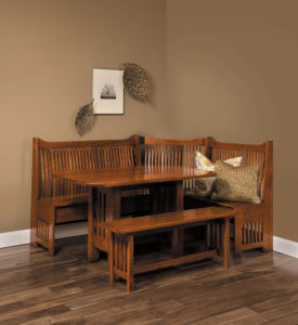 A & J - Mission Nook Dining Set (AJW900MN) - Dimensions (in inches): 72w x 58d x 41h - Includes storage under seats. Custom dimensions available, call store for details.