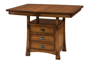 """WOODSIDE - Modesto Cabinet Table - Dimensions (in inches): 42x48, 42x54, 42x60, or 42x66 with up to one 18"""" butterfly leaf - Custom finish options available, please see store for details."""