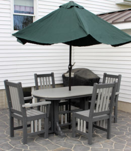 CREEKSIDE - 5' Oval Mission Table (OM205) and Chairs (Captain M210, Side M209) - Size: 5 foot table (also available in 6 and 7 feet), 18 inch chairs. Umbrella not included.