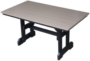 "CREEKSIDE - Rectangle Table (RET) 5' to 12' Long 34"" or 39"" Wide Dining, Counter, or Bar height Umbrella holes optional"
