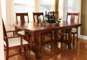 WEST POINT - Reno Trestle and Benson Arm and Side Chairs Collection - Table Dimensions (in inches): 42x60, 42x66, 42x72, 48x60, 48x66, or 48x72 with up to 4 leaves - All pieces sold separately - Custom finish options available, please see store for details.