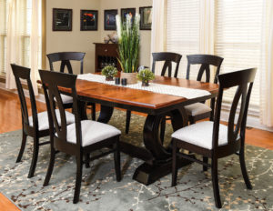 WEST POINT - Saratoga Trestle and Brookfield Side Chairs Collection - Table Dimensions (in inches): 42x72 or 48x72 with up to 4 leaves - All pieces sold separately - Custom finish options available, please see store for details.