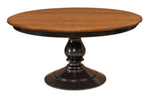 "WOODSIDE - St. Charles Pedestal Tableb - Dimensions: 54"", 60"", or 72"" round top with up to 2 leaves - Custom finish options available, please see store for details."