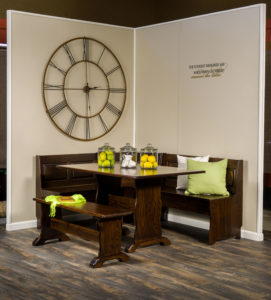 A & J - Traditional Nook Dining Set (AJW800TN-6) - Dimensions (in inches): 58d x 72w x 33h - Custom dimensions and finish options available, please see store for details.