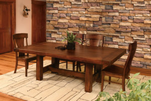 WEST POINT - Wellington Trestle and Lacombe Side Chairs Collection - Table Dimensions (in inches): 42x88 or 48x88 and optional 2 leaves - All pieces sold separately - Custom finish options available, please see store for details.