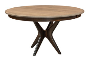 """WOODSIDE - West Newton Pedestal Table - Dimensions: 42"""", 48"""", or 54"""" round top with up to 2 leaves - Custom finish options available, please see store for details."""