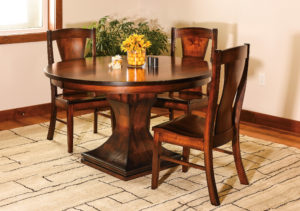 "WEST POINT - Westin Table and Chairs Collection - Table Dimensions: 48"" round, 54"" round, or 60"" round with up to 2 leaves - All pieces sold separately - Custom finish options available, please see store for details."