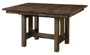 "WEST POINT - Dallas Trestle Table -Sizes: 36"" x 48"", 36"" x 54"", 36"" x 60"", 42"" x 48"". 42"" x 54"", 42"" x 60"" - Solid top or up to 3-12"" Leaves 1¼"" rectangle top with Mission edge is standard - Base standard as shown (with levelers) - Available in Rough Sawn White Oak -Shown in Rough Sawn White Oak with PCL-173 Desert Dusk, 10 sheen finish -Recommended chair: Gayle from FN Chairs"