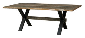 "WEST POINT - El Dorado Trestle Table -Sizes: 42"" x 84"", 42"" x 96"", 48"" x 84"", 48"" x 96"" - Solid Top Only -1¾"" Rectangle top with Live Edge is standard -Available in Rough Sawn Wormy Maple -Black powder coated metal base"