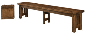 """WEST POINT - El Paso Bench -Sizes: 12 ½"""" x 68"""", 12 ½"""" x 80"""", -Solid Top or Up to 3-16"""" Leaves -1¾"""" Rectangle top with Mission is standard -Available in Rough Sawn Wormy Maple"""