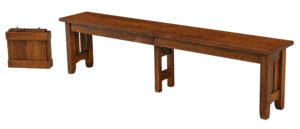 """WEST POINT - Galena Bench Sizes: 12 ½"""" x 48"""", 12 ½"""" x 60"""", 12 ½"""" x 72"""" -Solid Top or Up to 4-12"""" Leaves -1"""" top with Mission edge is standard -Available in Oak, Cherry, Quarter Sawn White Oak, Brown Maple & Rustic Cherry"""