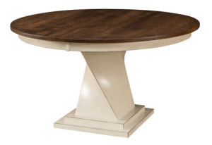 "WEST POINT - Lexington Single Pedestal -Sizes: 48"", 54"", 60"" Round -Solid top or up to 2-12"" Leaves -1"" round top with Mission edge is standard -Base standard as shown (with levelers) -Available in Oak, Cherry, Quarter Sawn White Oak, Brown Maple & Rustic Cherry"