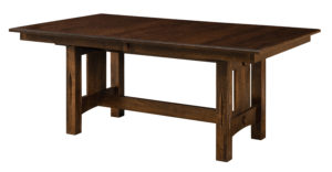 "WEST POINT - Ravena Trestle Table -Sizes: 42"" x 60"", 42"" x 72"", 48"" x 60"", 48"" x 72"" -Solid top or up to 4-12"" Leaves -1"" rectangle top with Bevel edge is standard -Base standard as shown (with levelers) -Available in Oak, Cherry, Brown Maple, Quarter Sawn White Oak & Rustic Cherry -Available with groove on leg painted black"