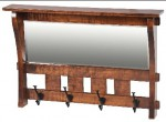Amish Furniture - Superior WoodCrafts - Mirror with 4 hook